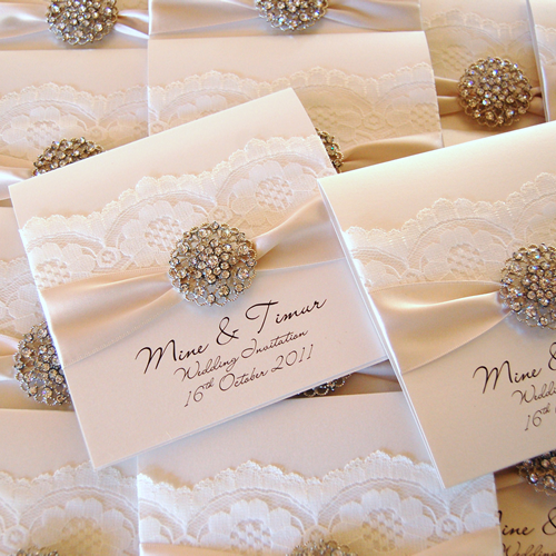 Luxury opulence vintage lace & crystals invitation ivory