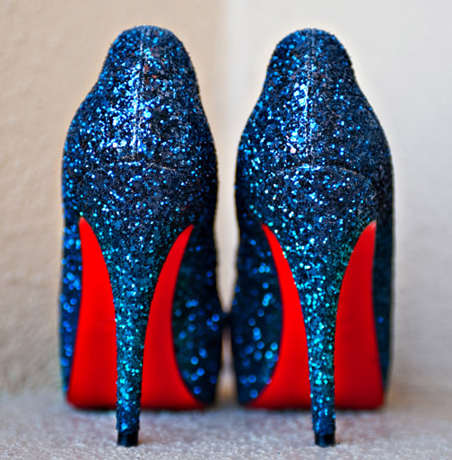 sparkly-blue-christian-louboutin-shoes, July Fourth Wedding, July fourth wedding cake, July 4th food, blue and red wedding