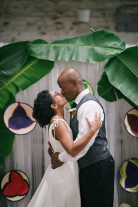 Mr and Mrs firs kiss at wedding in tampa