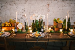 artisan wedding tablescape with mangoes