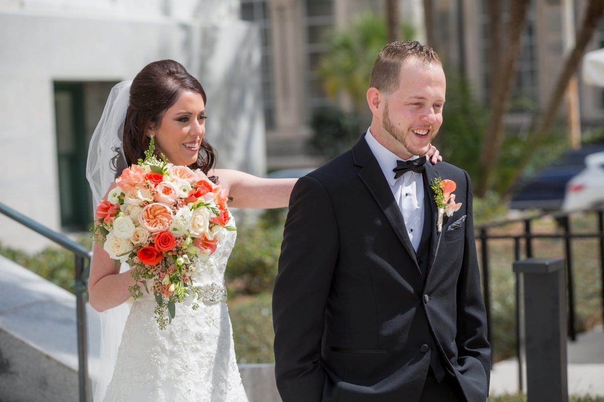 First look, Tampa weddings, Tampa wedding planner, Wedding planner florida, Tampa indian wedding planner, Indian wedding planner, fusion wedding, catholic wedding, le meridien tampa, wedding dress, wedding bouquet